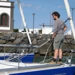 Das Boot vor dem ablegen etwas nach Luv verholen